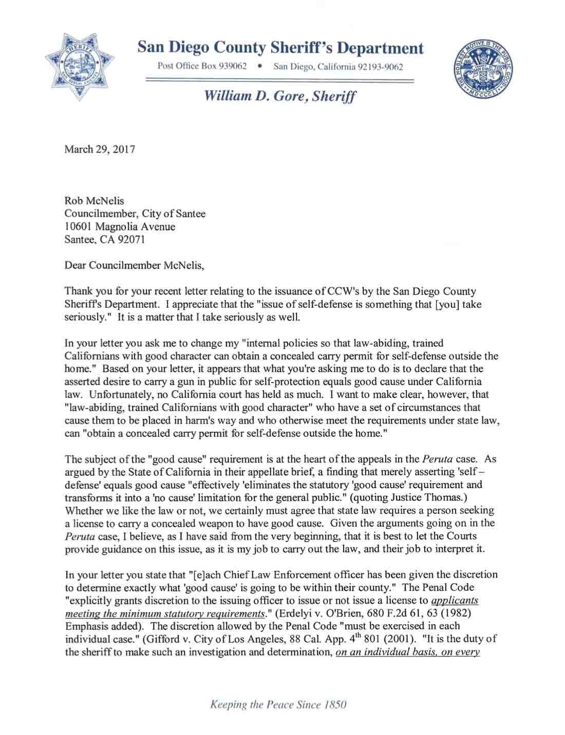 Letter to Sheriff Gore