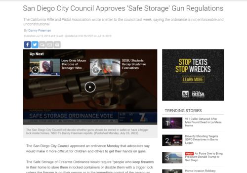 7 San Diego: San Diego City Council Approves 'Safe Storage' Gun Regulations