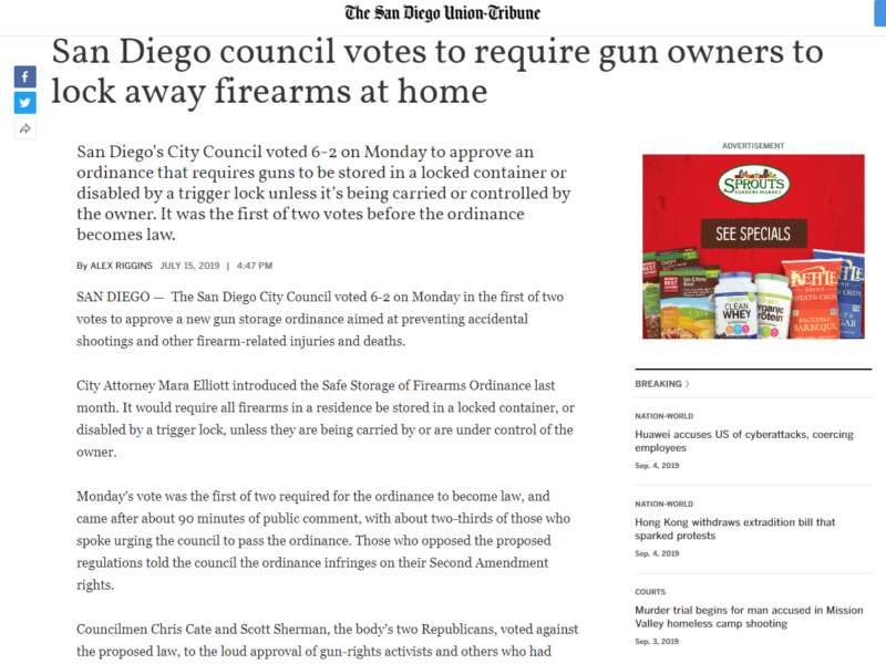 The San Diego Union-Tribune : San Diego council votes to require gun owners to lock away firearms at home